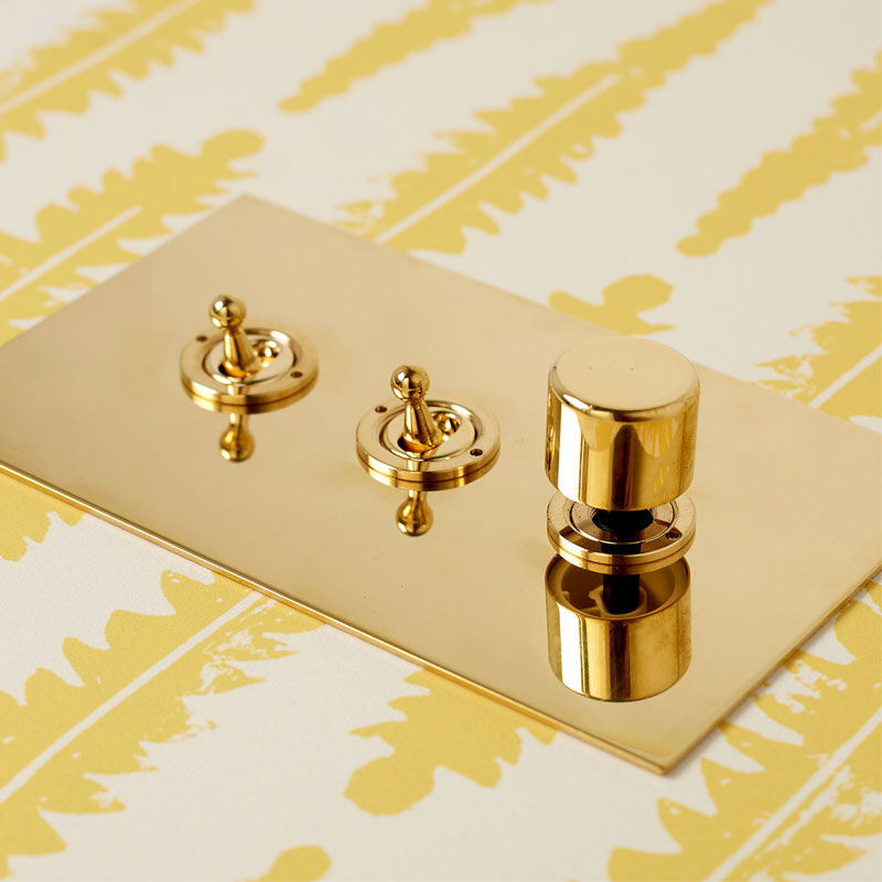 Unlacquered Brass 3-gang Lightswitch