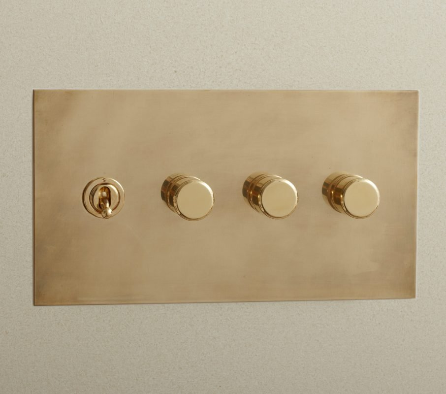 Rotary Dimmer and Toggle in Aged Brass