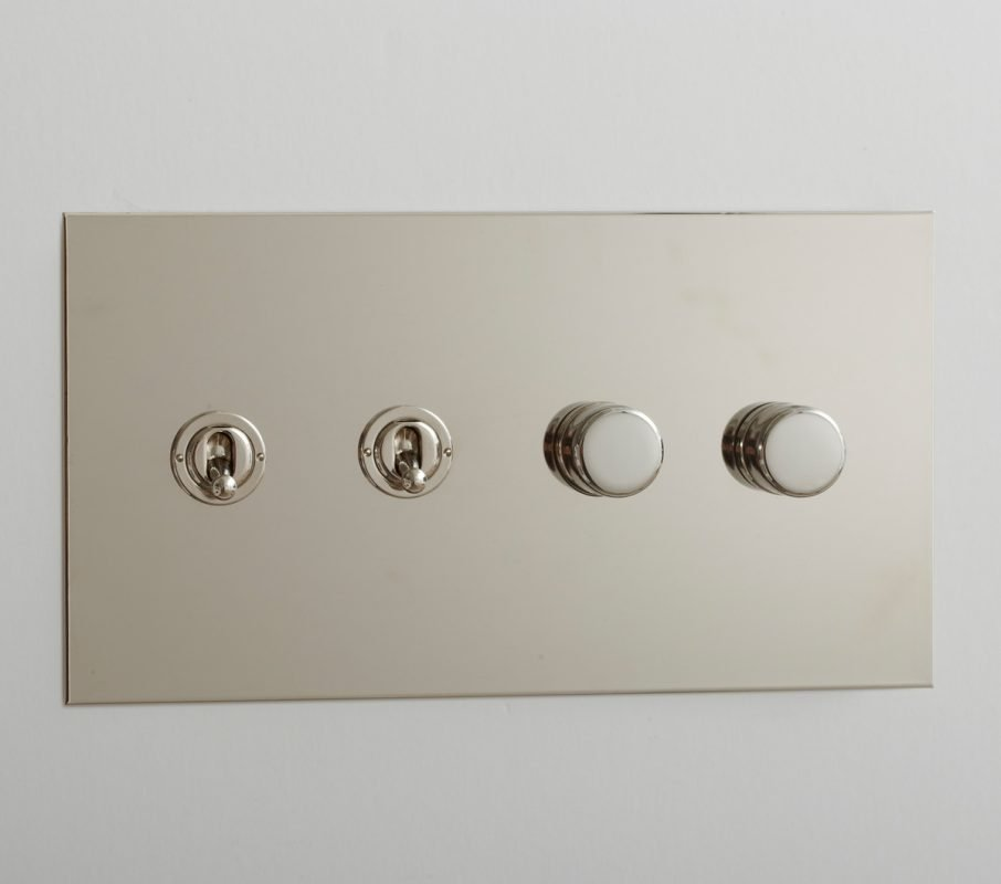 Toggle and Rotary Dimmer in Nickel