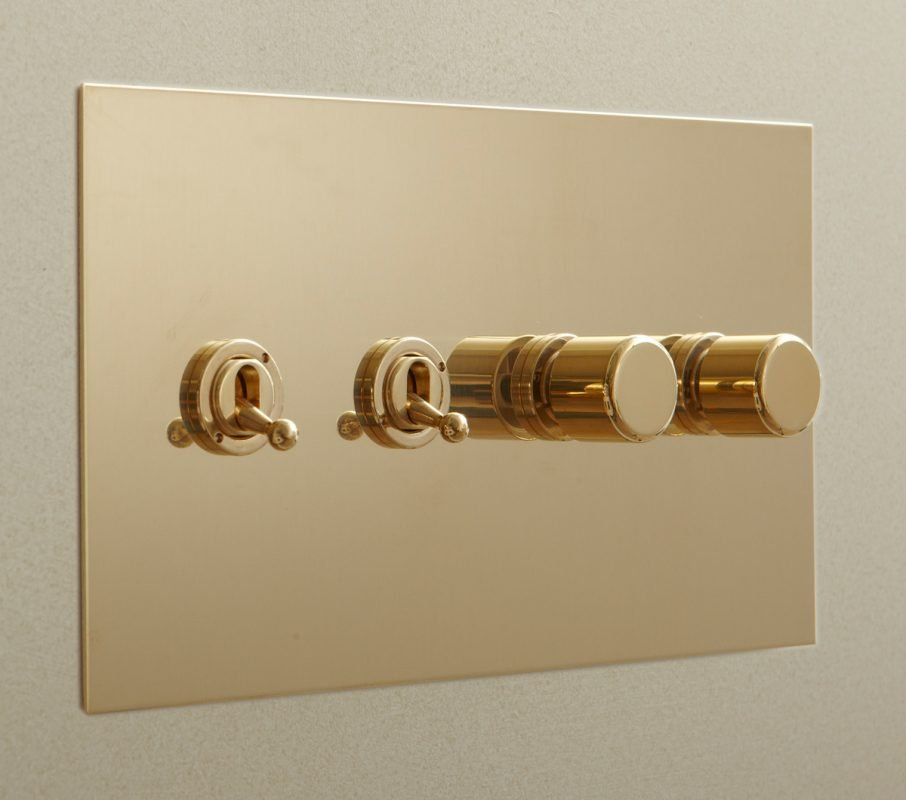 Toggles and Rotary Dimmers in Unlacquered Brass
